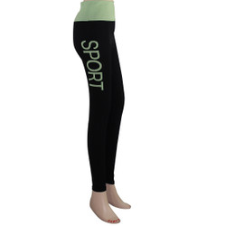 Yoga Leggings with 'SPORT' Woven Lettering Mint