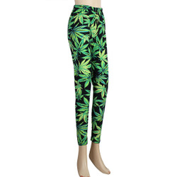 Marijuana Legging Large Green Black