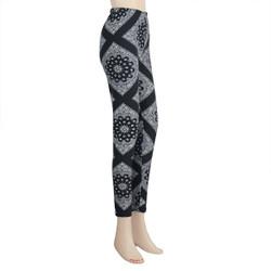 Square Floral Paisley Legging Large Black White