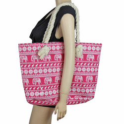 Elephant Canvas Large Tote Rope Handles Pink