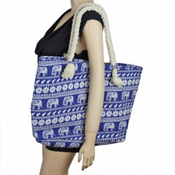 Elephant Canvas Large Tote Rope Handles Blue