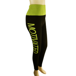 Yoga Legging with 'MOTIVATED' Woven Lettering Regular Yellow-Green