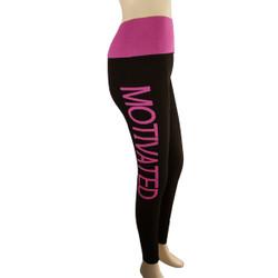 Yoga Legging with 'MOTIVATED' Woven Lettering Regular Fuchsia