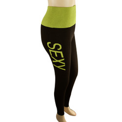 Yoga Legging with 'SEXY' Woven Lettering PLUS SIZE Yellow-Green