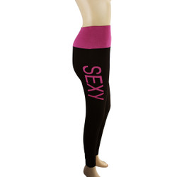 Yoga Legging with 'SEXY' Woven Lettering Fuchsia
