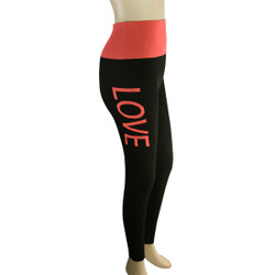 Yoga Legging with 'LOVE' Woven Lettering Coral