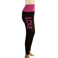 Yoga Legging with 'LOVE' Woven Lettering Fuchsia