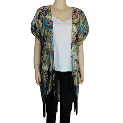 Paisley Kimono with Tassel Green Turquoise Red