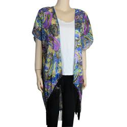 Paisley Kimono with Tassel Blue Purple Yellow