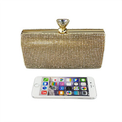 Crystals Minaudiere Clutch Gold holds iPhone 6