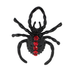 Halloween Spider Brooch with Red Rhinestones