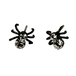 Spider Stud Earrings Halloween Crystals