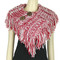 Cable Knit Button Collar Scarf With Fringe red and white
