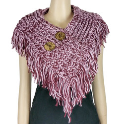 Cable Knit Button Collar Scarf With Fringe Burgundy and Pink