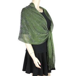 Shimmer and Shine Fringed Scarf Deep Green