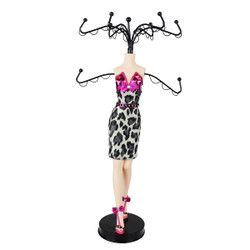Glamour Wild Leopard Cocktail Dress Mannequin Jewelry Stand Fuchsia