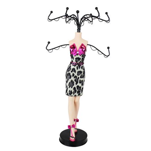 Glamour Wild Leopard Cocktail Dress Mannequin Jewelry Stand Fuchsia