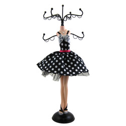 Polka Dot Pink Belt Cocktail Dress Jewelry Tree Stand Black White