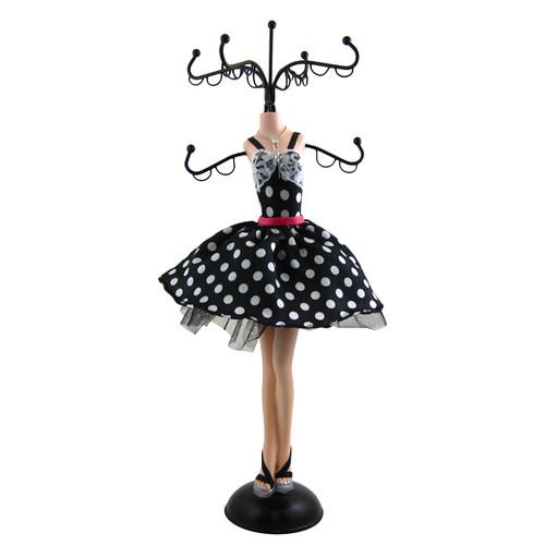 Polka Dot Pink Belt Cocktail Dress Jewelry Tree Stand Black White