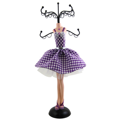 Checkered Cocktail Dress Jewelry Tree Stand Purple White