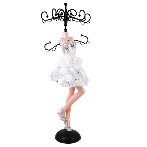 Sequined Rose Cocktail Dress Jewelry Stand White 13.5 Inches