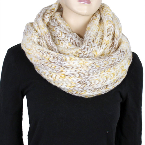 Chunky Knitted Infinity Scarf Blended Pastel Color Yellow