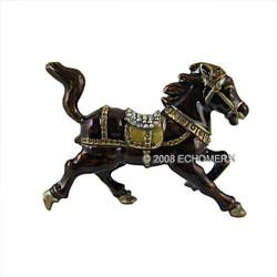 Horse Trinket Box Bejeweled Brown