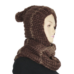 Two-Toned Hooded Scarf with Pom Pom  Brown and Beige