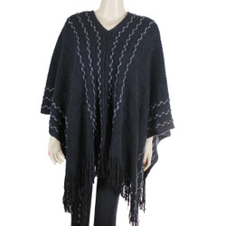 V-Neck Poncho with Metallic Threaded Braids Black