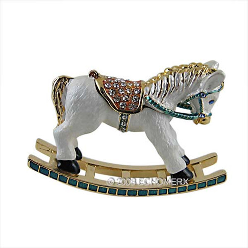 Rocking Horse Trinket Box Jeweled White