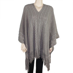 V-Neck Poncho with Metallic Threaded Braids Khaki