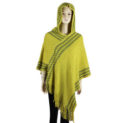 Hooded Poncho with argyle Pattern Mustard