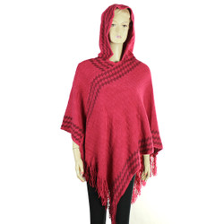 Hooded Poncho with argyle Pattern Dark Coral