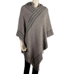 Hooded Poncho with argyle Pattern Khaki