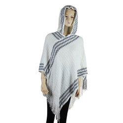 Hooded Poncho with argyle Pattern White