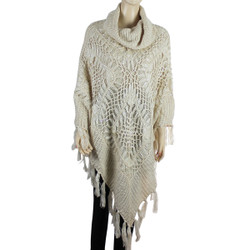 Cowl Neck Crocheted Poncho with Sequins Ivory