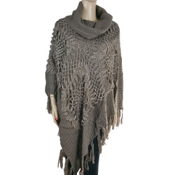 Cowl Neck Crocheted Poncho with Sequins Brown