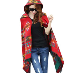 Hooded Scarf Wrap Aztec Multicolor Print Red
