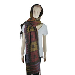 Bohemian Hooded Scarf Wrap Brown