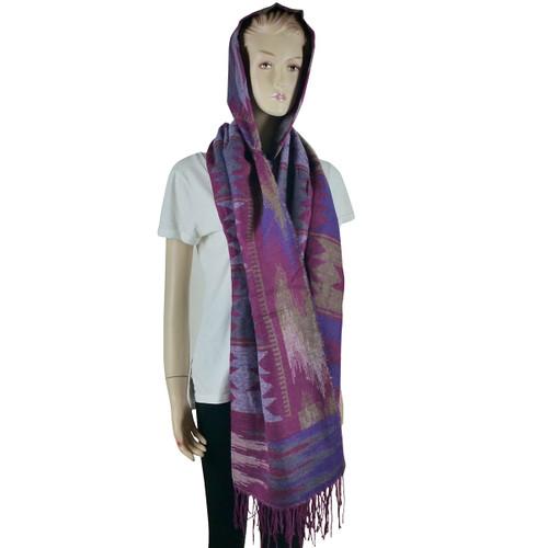 Bohemian Hooded Scarf Wrap Purple