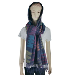 Bohemian Hooded Scarf Wrap Blue