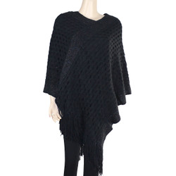 Streak of Brilliance Crocheted Poncho V-neck Black