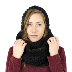 Hooded Infinity Scarf with Pom Pom Black