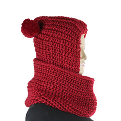 Hooded Infinity Scarf with Pom Pom Red