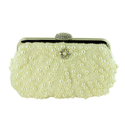 Faux Pearl Beaded Evening Purse with Crystals Cream