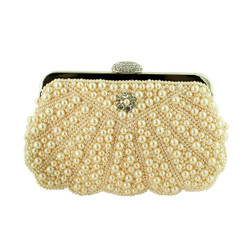 Faux Pearl Beaded Evening Purse with Crystals Peach