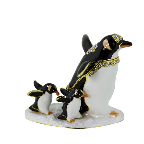 Penguin and Two Chicks Walking Trinket Box