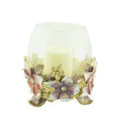 Hibiscus Candle Holder with Crystals Lavender and Red