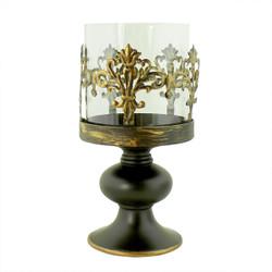 Vintage Bronze Fleur De Lis Candle Holder