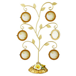 Family Heritage Tree Picture Frame Gold Leaves